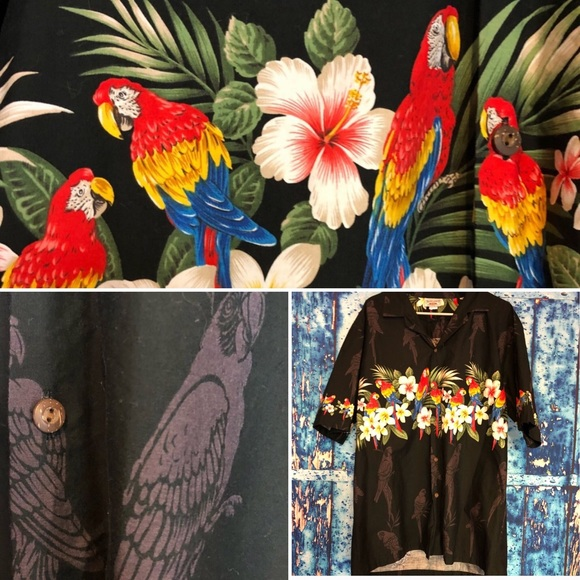 ddc0f0de5 pacific legend Shirts | Sz Xl Black Parrot Hawaiian Shirt | Poshmark